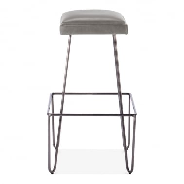 Ruche Stool with Cushion Seat - Gunmetal / Grey 76cm