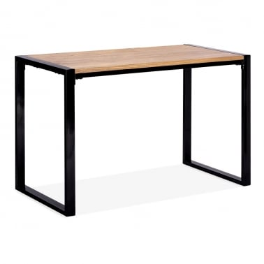 Gastro Dining Table with Natural Wood Top - Black 120cm
