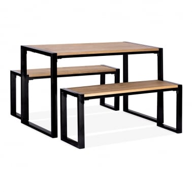 Gastro Solid Wood Top Dining Set - 1 Table + 2 Benches - Black 120cm