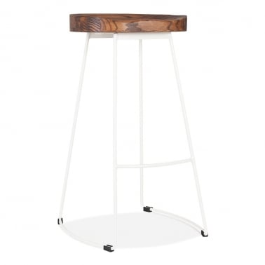 Victoria Metal Bar Stool with Wood Seat Option - White 75cm