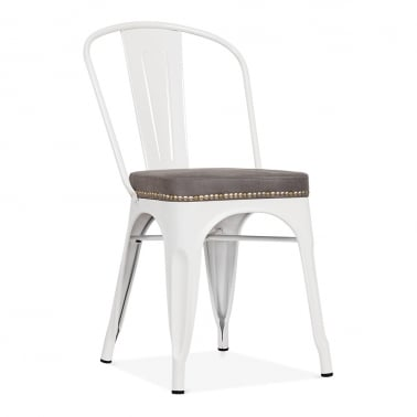 Tolix Style Metal Side Chair with Cushion Colour Option - White