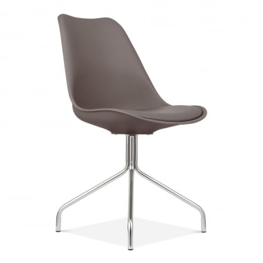 Dining Chairs With Metal Cross Legs - Warm Grey