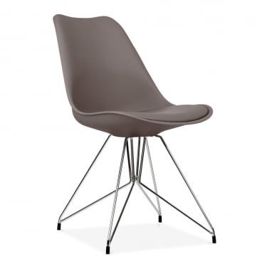 Dining Chair with Geometric Metal Legs - Warm Grey