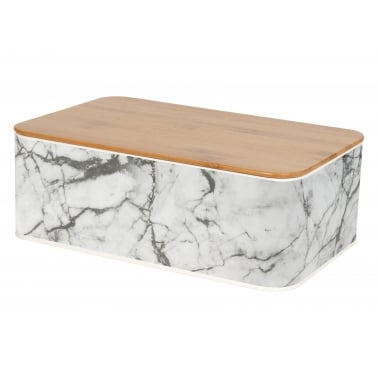 Marbled Tin Bread Box with Lid - White
