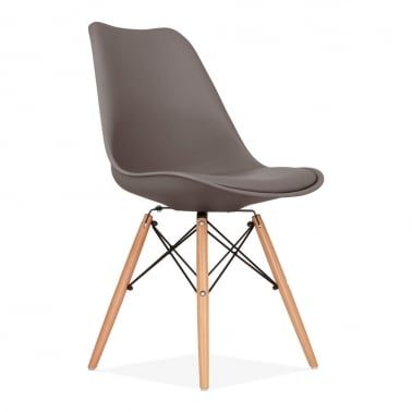 Dining Chair with DSW Style Wood Legs - Warm Grey