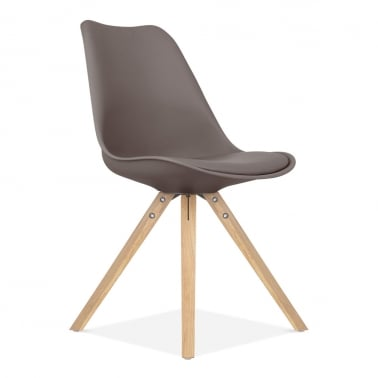 Dining Chair with Pyramid Style Solid Oak Wood Legs - Warm Grey