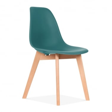 DSW Dining Chair with Crossed Wood Legs - Teal