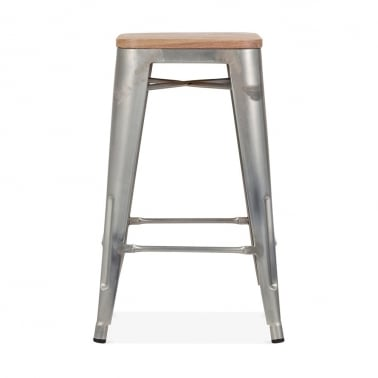 Tolix Style Stool with Natural Wood Seat - Galvanised 65cm ...  sc 1 st  Cult Furniture & Industrial Stools | Metal Industrial Bar Stools | Cult UK islam-shia.org