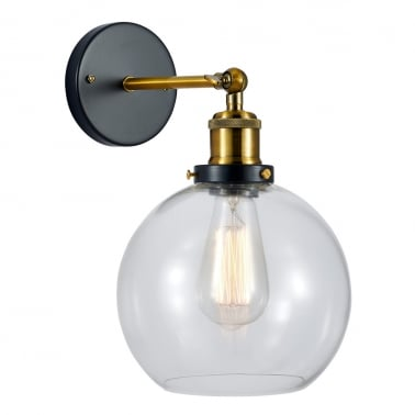 Factory Glass Sphere Wall Light - Gold / Clear