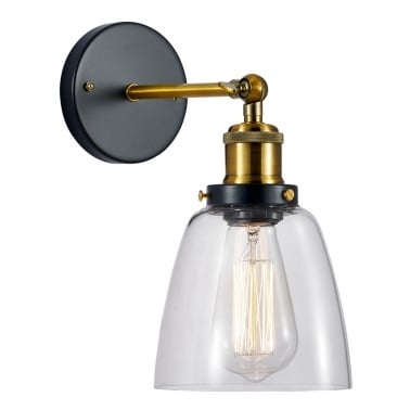 Factory Glass Beaker Wall Light - Gold / Clear