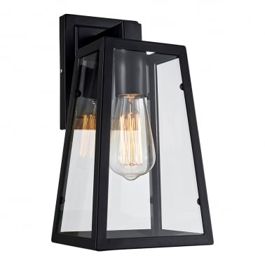 Box Metal & Glass Wall Light - Black