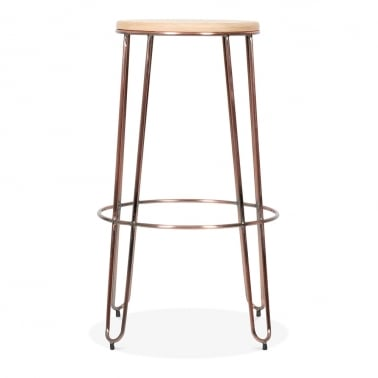 Radius Stool with Natural Wood Seat - Copper 76cm