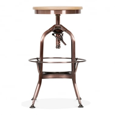 Toledo Style Pump Action Round Stool - Copper 64/74cm