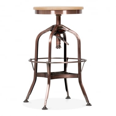 Toledo Style Pump Action Round Stool, Solid Oak Seat, Copper 64-74cm