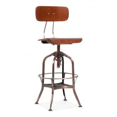 Toledo Style Pump Action Bar Stool - Copper 64-74cm