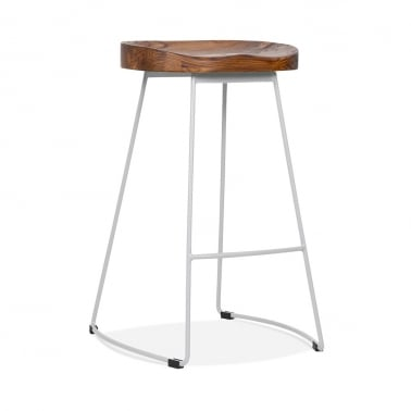 Victoria Metal Bar Stool with Dark Wood Seat - Matte Grey 65cm