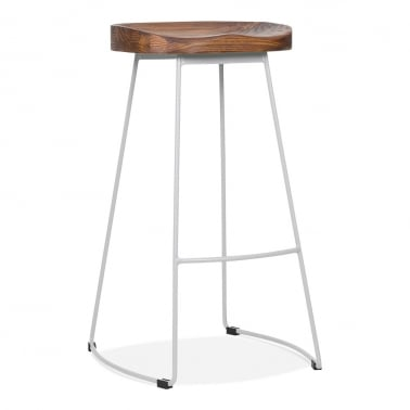 Victoria Metal Bar Stool with Dark Wood Seat - Matte Grey 75cm