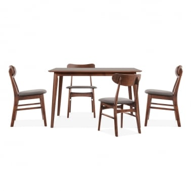 Milton Wooden Dining Set - 1 Table & 4 Chairs - Walnut / Grey