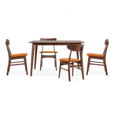 Milton Wooden Dining Set - 1 Table & 4 Chairs - Walnut / Orange