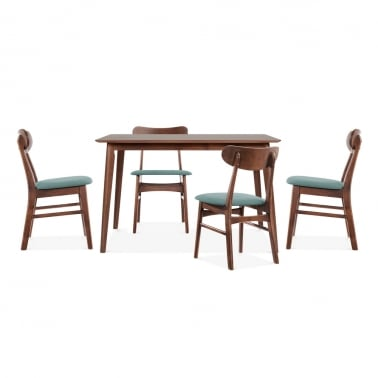 Milton Wooden Dining Set - 1 Table & 4 Chairs - Walnut / Soft Teal