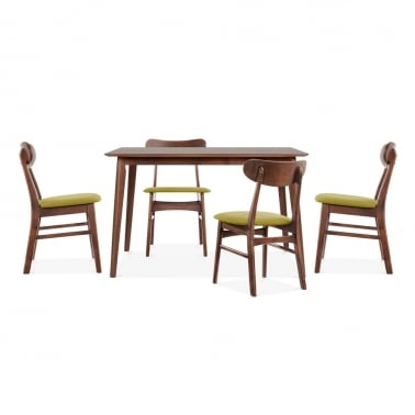Milton Wooden Dining Set - 1 Table & 4 Chairs - Walnut / Olive