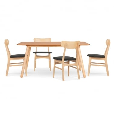 Börje Wooden Dining Set - 1 Table & 4 Chairs - Natural / Dark Grey