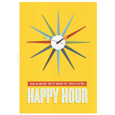 Happy Hour Retro Framed Jan Skacelik Print - Yellow