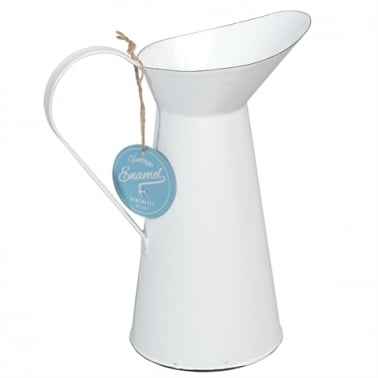 Retro Enamel Water Jug - Cream
