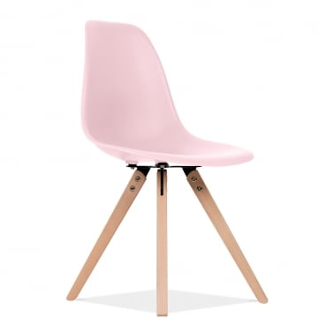 DSW Dining Chair with Pyramid Wood Legs - Pastel Pink