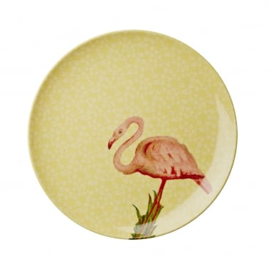 Melamine Side Plate with Flamingo Print - Yellow