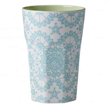 Melamine Tall Cup with Lace Print - Mint