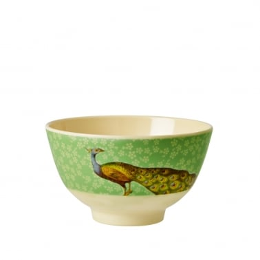 Melamine Bowl with Peacock Print - Green