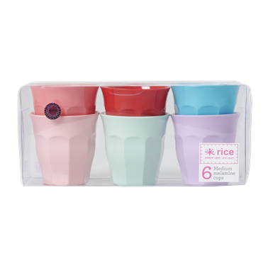 Medium Melamine Curved Cup in 6 Assorted - Multi-coloured