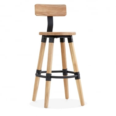 Bastille Round Bar Stool with Backrest - Natural Wood 75cm