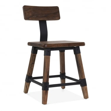 Bastille Square Wooden Chair - Brown Wood
