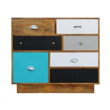 Jasmine Multi-Coloured Chest of Drawers - Teal Medium