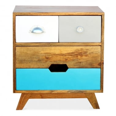Jasmine Mango Wood Side Drawer Table - Teal