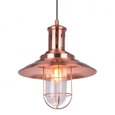 Nebula Metal Caged Pendant Light - Copper