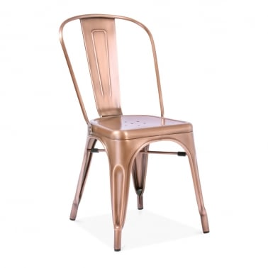 Tolix Style Metal Side Chair - Light Copper