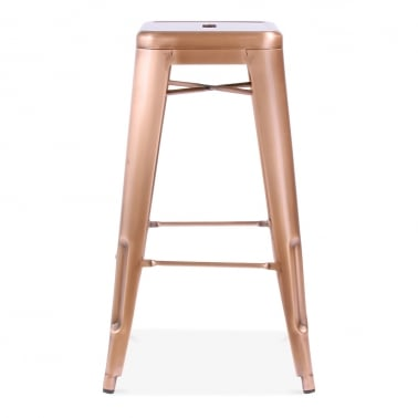 Tolix Style Metal Bar Stool - Light Copper 75cm