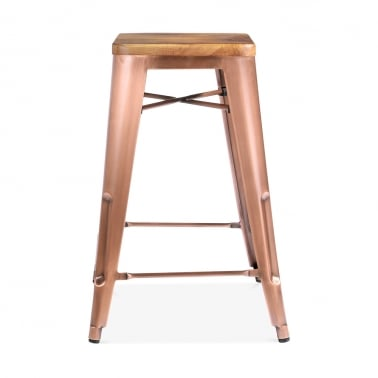 Tolix Style Bar Stool with Natural Wood Seat, Light Copper 65cm