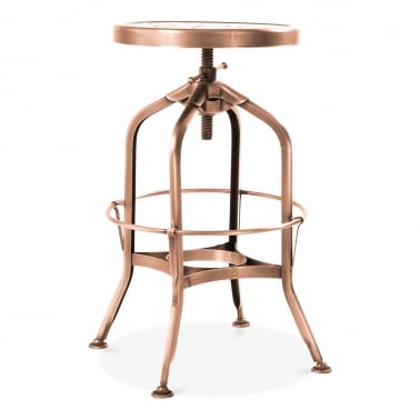 Toledo Style Round Swivel Metal Stool, Copper 64-74cm