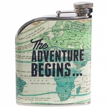 Hip Flask 'The Adventure Begins' - Pastel Green