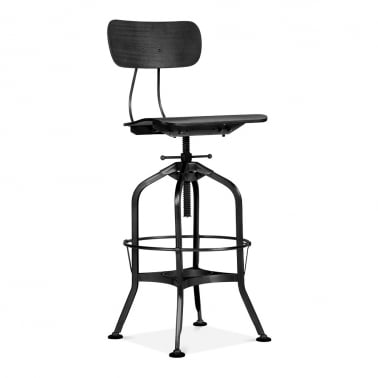 Toledo Style Swivel Bar Stool with Backrest, Black 64-74cm