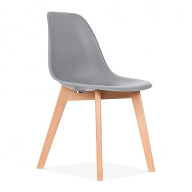 DSW Dining Chair with Crossed Wood Legs - Cool Grey