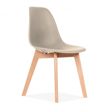 DSW Dining Chair with Crossed Wood Legs - Beige
