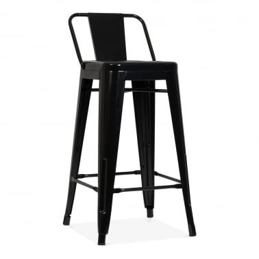 Tolix Style Metal Bar Stool with Low Back Rest - Black 65cm