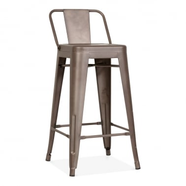 Tolix Style Metal Bar Stool with Low Back Rest - Rustic 65cm