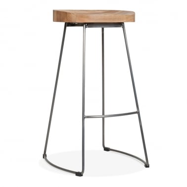 Victoria Metal Bar Stool with Wood Seat Option - Gunmetal 75cm