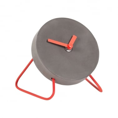 Stone Studio Concrete & Wire Mini Desk Clock - Red